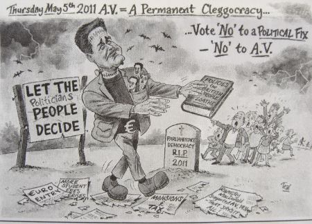 A.V. = A Permanent Cleggocracy cartoon from Conservative Election leaflet